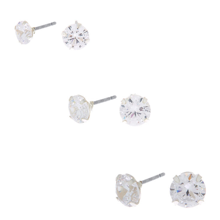 7c469c70f5647f Sterling Silver Cubic Zirconia Stud Earring Set - 3 Pack | Claire's