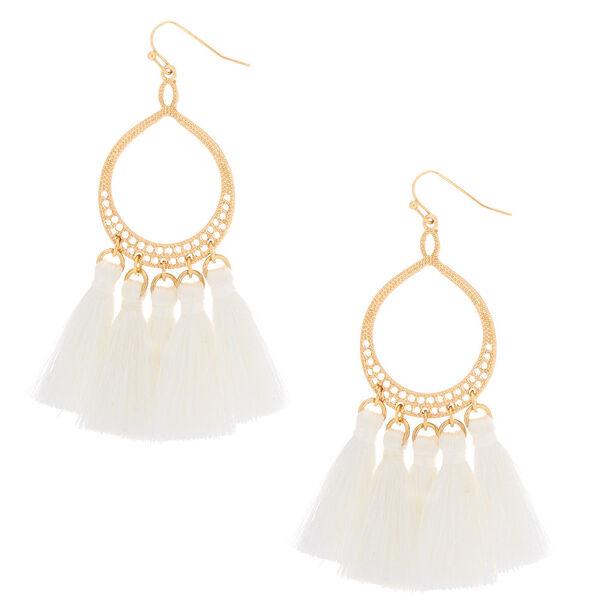 """Claire's - teardrop tassel 3"""" drop earrings - 1"""