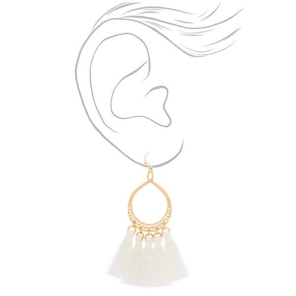 """Claire's - teardrop tassel 3"""" drop earrings - 2"""