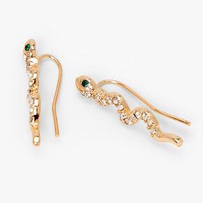 Gold Embellished Snake Ear Crawler Stud Earrings,