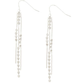 "Silver 2.5"" Embellished Chain Fringe Earrings,"