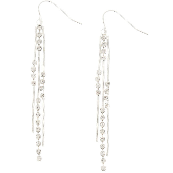 "Silver 2.5"" Embellished Chain Fringe Earrings,"