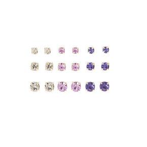 Graduated Purple Stud Earrings - 9 Pack,