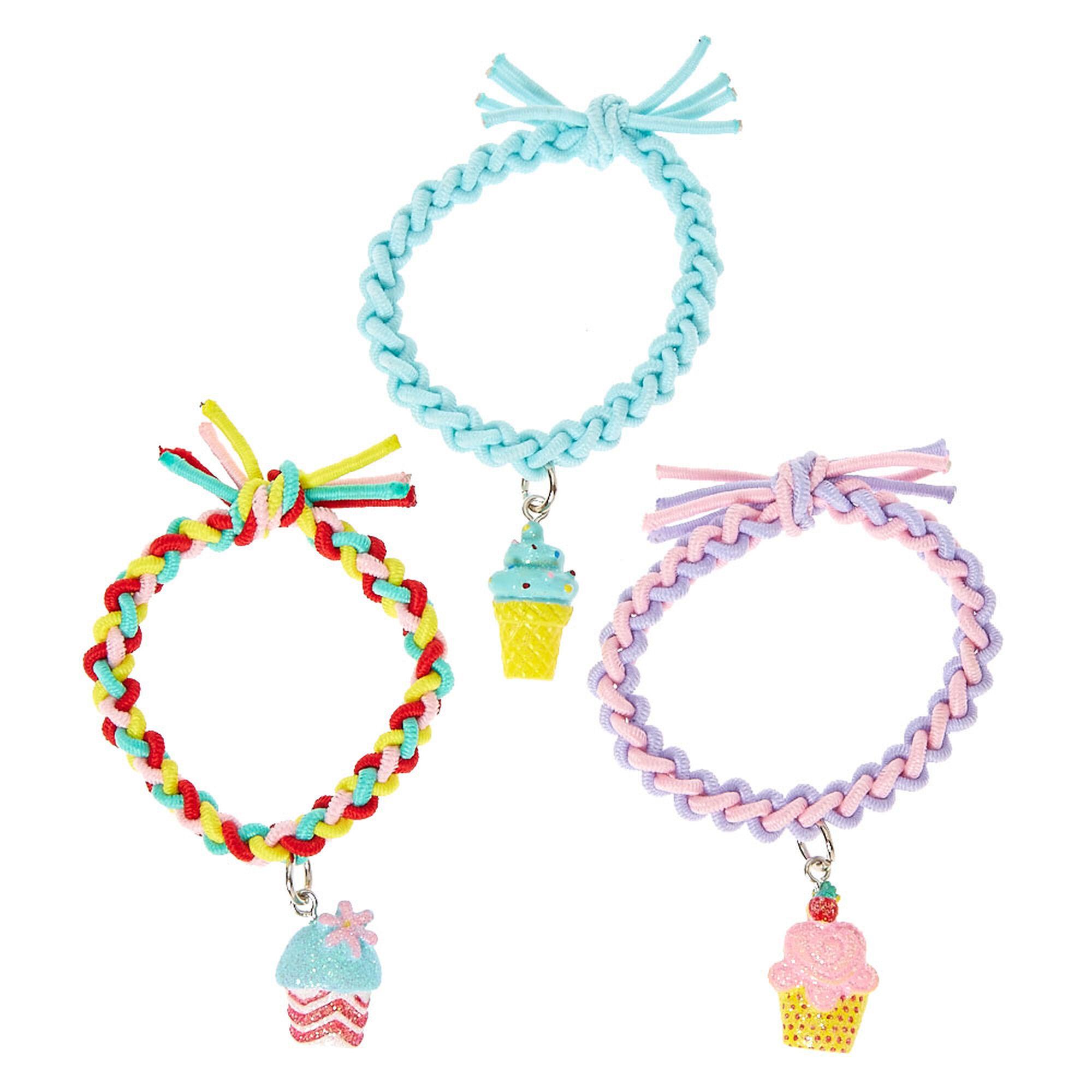 Kids Pastel Sweet Treat Charm Braided Stretch Bracelets Set of 3