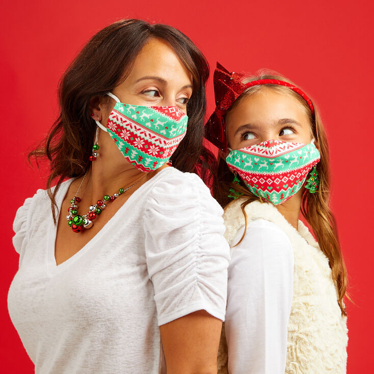 Family Pack Cotton Christmas Sweater Print Face Masks - Child Small and Adult,