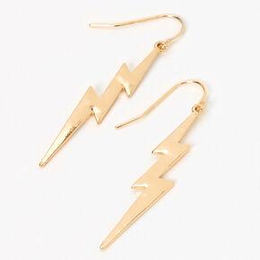 "Gold 2"" Lightning Bolt Drop Earrings,"