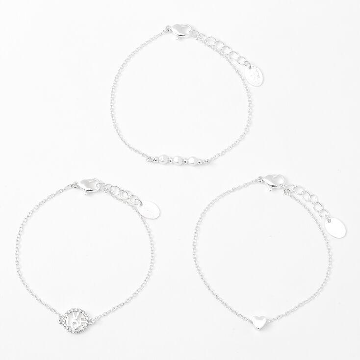 Silver Hearts & Love Chain Bracelets - 3 Pack,