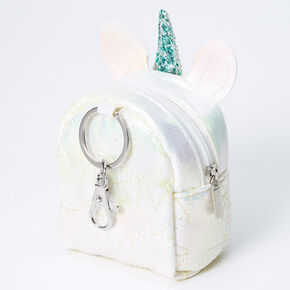 Iridescent Quilted Unicorn Mini Backpack Keychain - White,