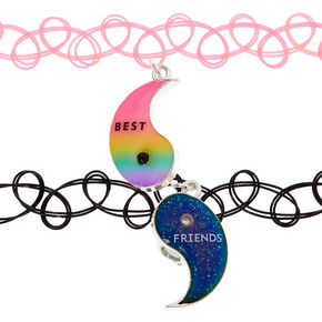 Best Friends Yin Yang Rainbow Tattoo Choker Necklaces - 2 Pack,