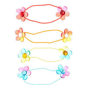 Claire's Club Rainbow Flower Hair Ties - 4 Pack,