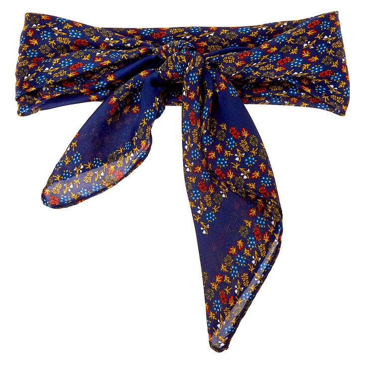 Ditsy Floral Silky Bandana Headwrap - Navy,