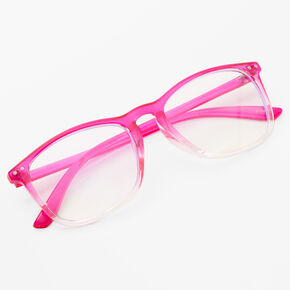 Retro Ombre Clear Lens Frames - Neon Pink,