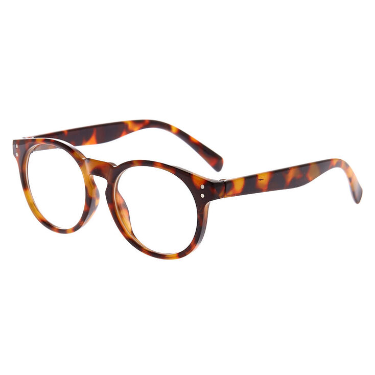 Claire's Club Tortoiseshell Round Clear Lens Frames,