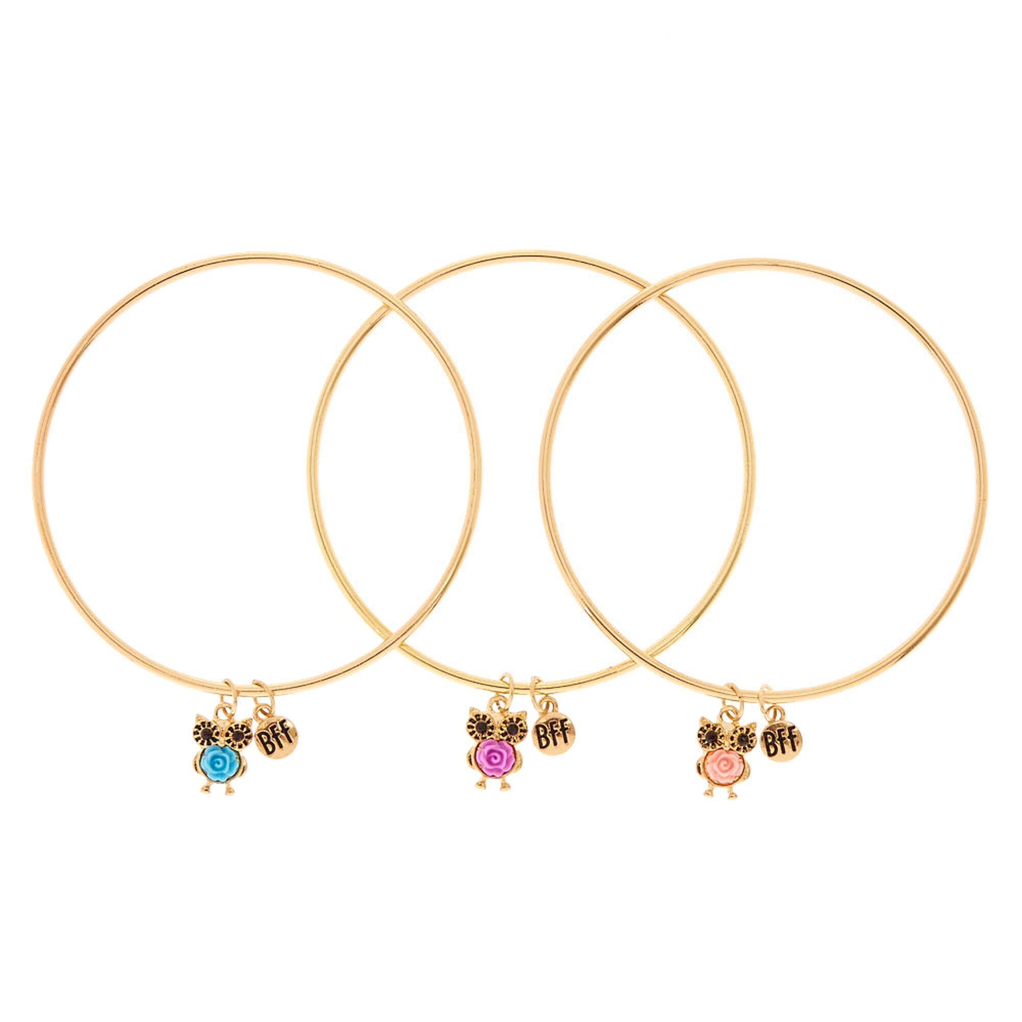 Best Friends Gold Tone Owl Charm Bangle Bracelets