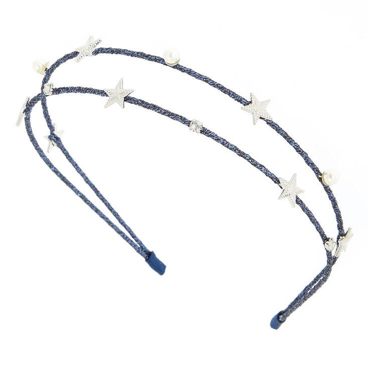 Night Sky Double Row Headband - Navy,