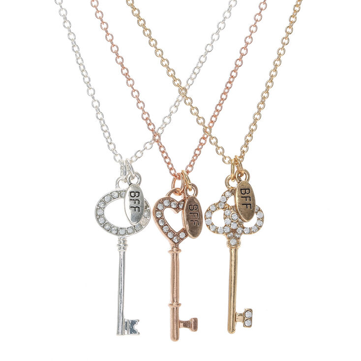 pack 3 best friends forever key charm necklaces