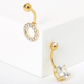 Gold 14G Crystal Cricle Belly Rings - 2 Pack,
