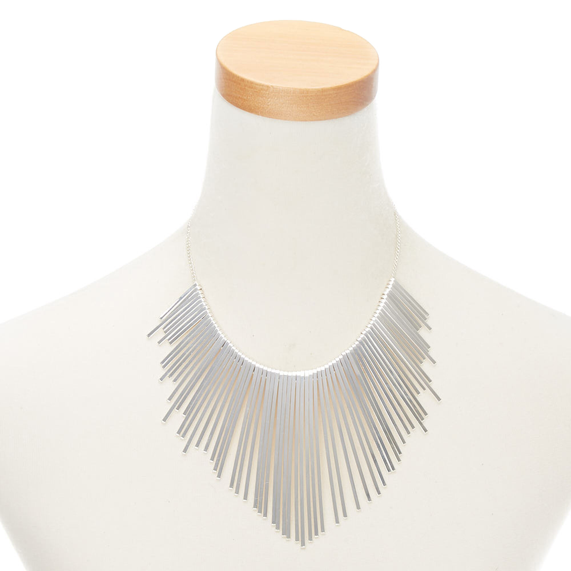 0749afba465ebd Silver Bar Bib Statement Necklace | Claire's