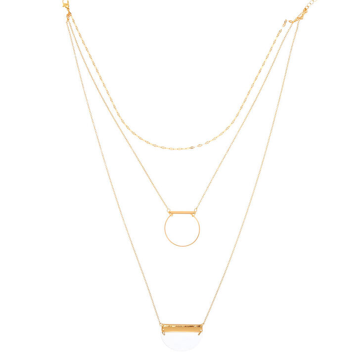 Geometric Clear & Gold Multi Strand Necklace,