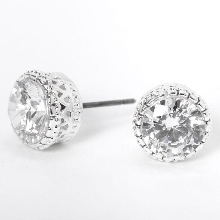 Silver Cubic Zirconia Round Vintage Stud Earrings - 8MM,