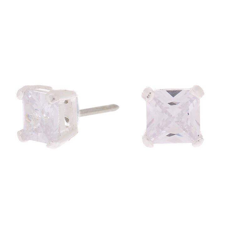 Sterling Silver Cubic Zirconia Square Stud Earrings - 5MM,