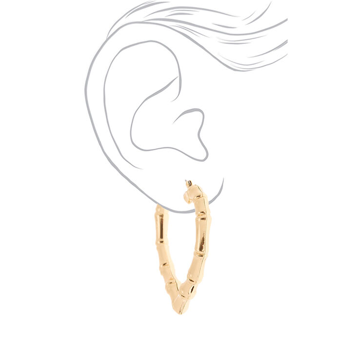 Gold 60MM Heart Bamboo Hoop Earrings,