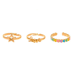 Gold Love Rings - 3 Pack,