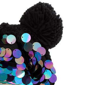 35568c00c53 Chunky Sequin Bear Ears Beanie - Black