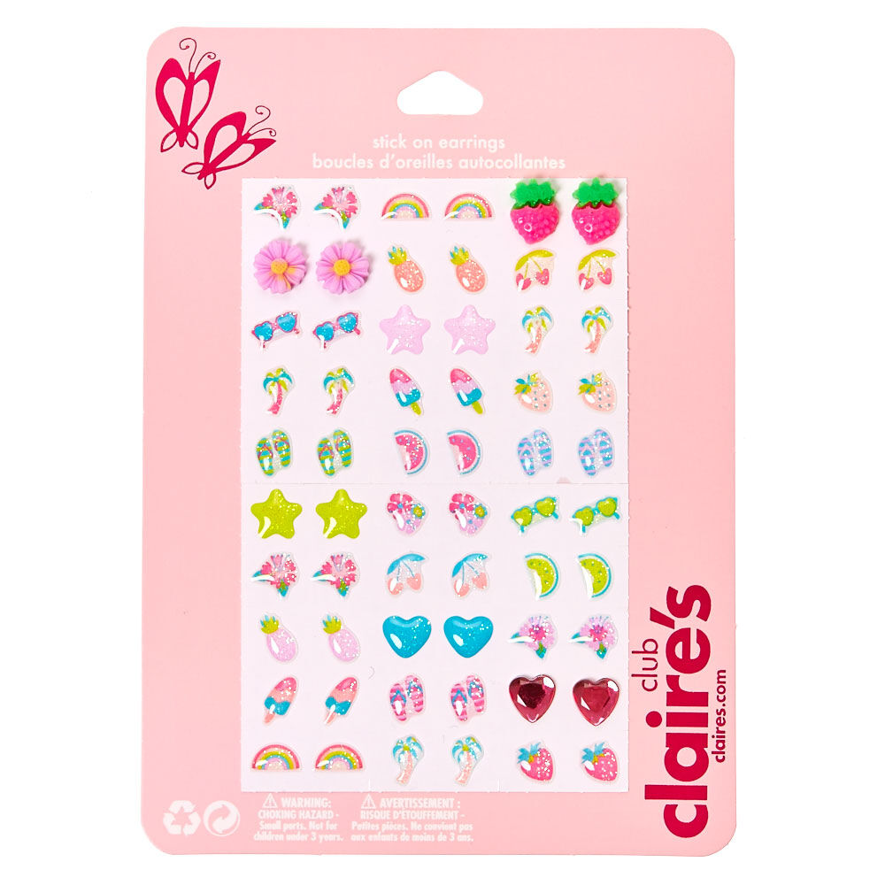 Claires Stick on Earrings 30 Pack Cute Girls Toddlers Sticker Earrings