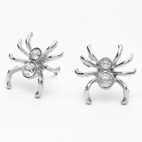 Silver Spider Stone Stud Earrings,
