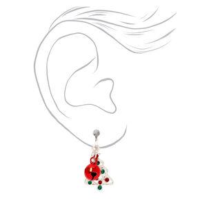 "Silver 1"" Holiday Tree Bells Clip On Drop Earrings,"