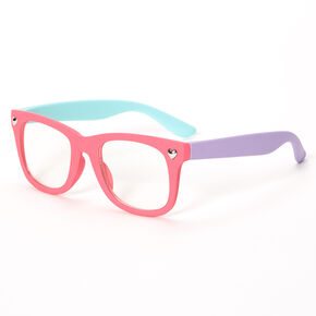 Claire's Club Retro Pastel Color Block Clear Lens Frames,