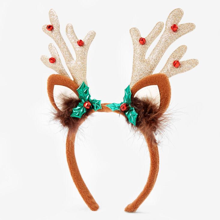Christmas Reindeer Antlers with Holly and Bells Christmas Headband Hairband