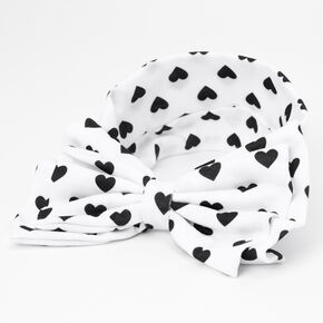Claire's Club Polka Dot Hearts Bow Headwrap - White,
