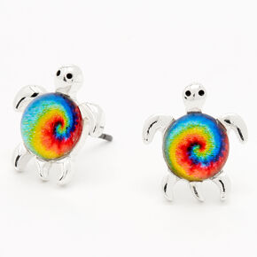 Rainbow Tie Dye Turtle Stud Earrings,