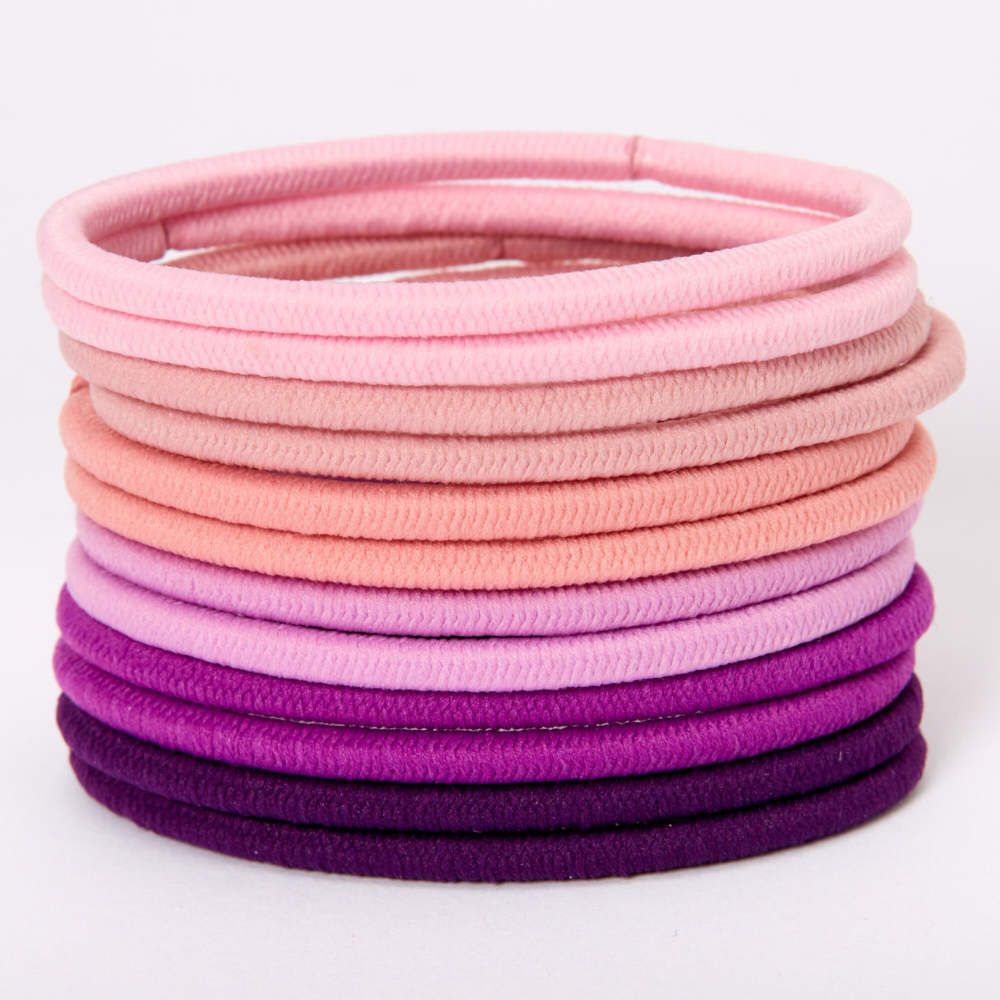 Pack of 12 Hair Bands Elastics Bobbles White Blue Purple and Pink