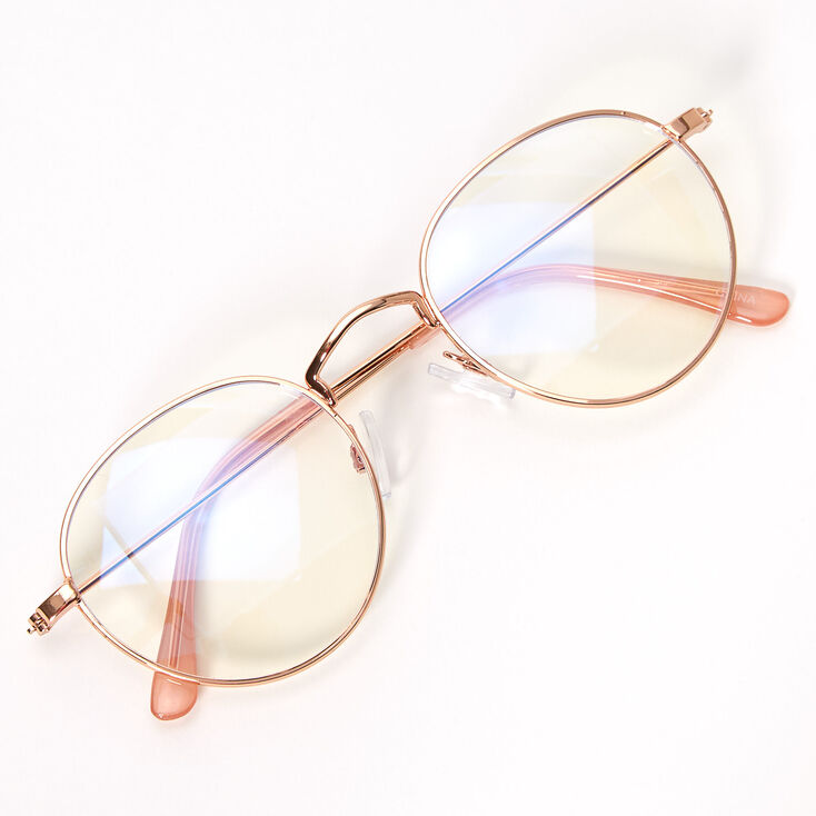 Blue Light Reducing Round Clear Lens Frames - Gold,