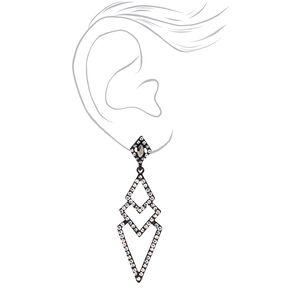 """Jet Black 2.5""""  Embellished Art Deco Drop Earrings,"""