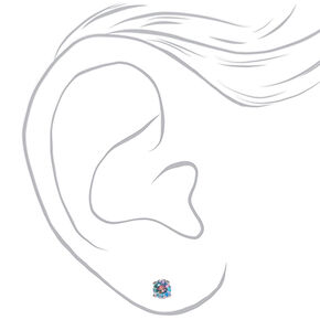 Silver Cubic Zirconia Round Stud Earrings - 5MM,