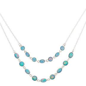 Silver Shimmer Stone Multi Strand Necklace - Aqua,