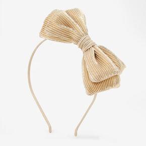 Pleated Bow Headband - Gold,