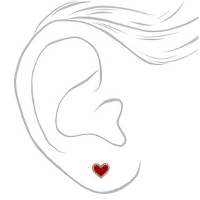 Gold Crystal Heart Stud Earrings - Red,