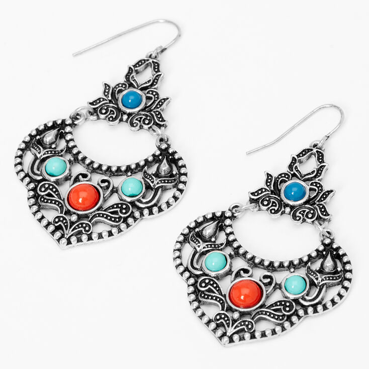 """Silver 2"""" Blue & Red Burnished Stone Drop Earrings,"""
