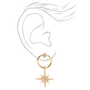 """Gold 1"""" Starburst Circle Drop Earrings,"""