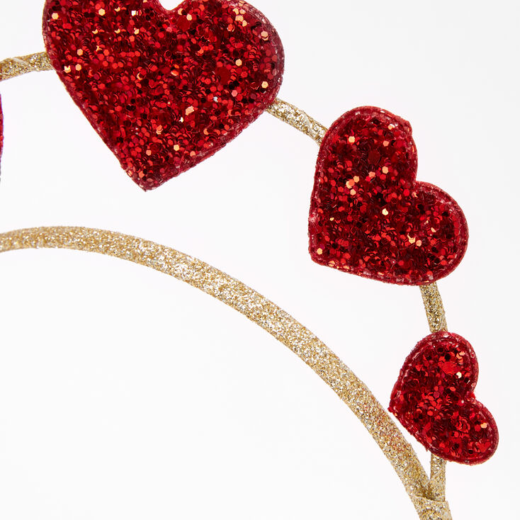 Red Glitter Hearts Crown Headband,
