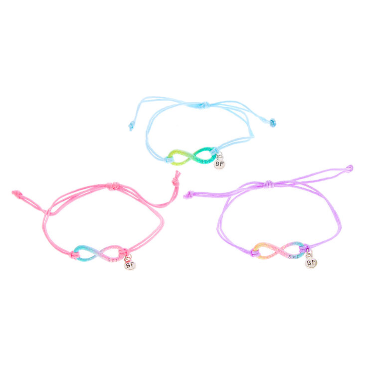 Glitter Pastel Infinity Adjustable Friendship Bracelets- 3 Pack,
