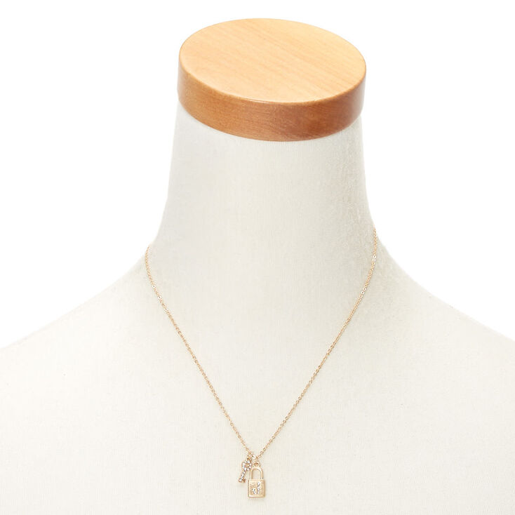 Gold Lock & Key Initial Pendant Necklace - J,