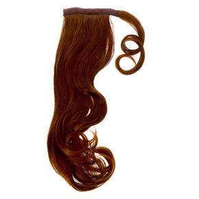 Bandeau avec fausse queue de cheval cheveux bouclés - Brun,