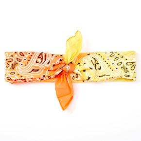 Bandeau bandana motif cachemire avec dégradé de couleurs soleil couchant,