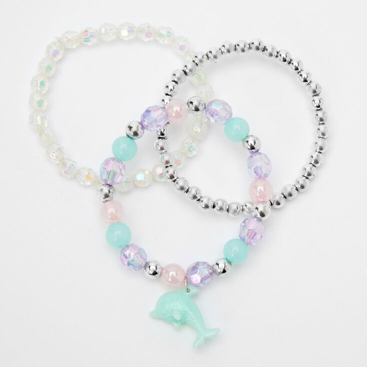 Claire's Club Dolphin Beaded Stretch Bracelets - 3 Pack,